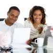 Closeup portrait of happy, proud, smiling couple excited to pay off debts and have extra cash — Stok fotoğraf #37404507
