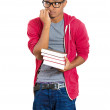 Closeup of young handsome man, wearing big glasses, holding books, anxious in anticipation of finals, exam test — Stock Photo #37405259