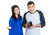 Closeup portrait of young attractive man woman couple showing empty wallet, being broke over the budget and poor — Stock Photo