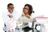 Closeup portrait of couple, man, woman, distressed from financial problem, mounting bills — Stock Photo
