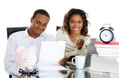 Closeup portrait of happy, proud, smiling couple excited to pay off debts and have extra cash — Stock Photo