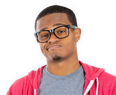 Closeup portrait of handsome cocky guy with big black glasses looking at you camera gesture skeptically — Stock Photo