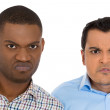 Closeup portrait of young displeased pissed off, angry grumpy men with bad attitude, looking mean at you camera — Stock Photo #37755015