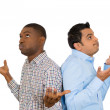 Closeup portrait of two men back to back putting hands in air looking up in frustration — Stock Photo #37755031