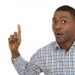 Closeup portrait of surprised young man who just came up with an idea aha, index finger pointing up — Stock Photo
