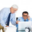 Closeup portrait of old elderly business man boss, checking on his young employee, pushing to work hard on project, who is in disagreement unhappy — Stock Photo