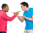 Closeup portrait of two angry men pointing fingers at each other and blaming for problems — Stock Photo #37755647