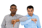 Closeup portrait of angry, unhappy, business men, students, co-workers, company employees — Stock Photo
