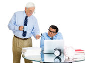 Closeup portrait of old elderly business man boss, checking on his young employee, pushing to work hard on project, who is in disagreement unhappy — Stockfoto