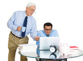 Closeup portrait of old elderly business man boss, checking on his young employee, pushing to work hard on project, who is in disagreement unhappy — Foto Stock