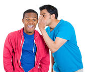 A closeup portrait of two young men, one whispering to another a secret, who is happy shocked very surprised wide opened mouth — Stock Photo