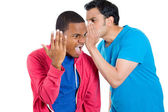 Closeup portrait of guy whispering into man's ear telling him something secret and disturbing. Shocked surprised disgusted wide open mouth response — Foto Stock