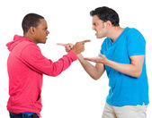 Closeup portrait of two angry men pointing fingers at each other and blaming for problems — Stock Photo
