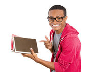 Closeup of a young smart handsome man, wearing big glasses, holding books, prepared and ready to ace his exam test finals — Stock Photo