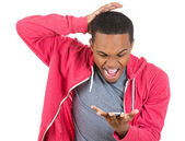 Handsome young man shocked surprised — Stock Photo
