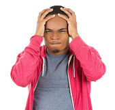 Really stressed out young man, handsome student with headach — Foto Stock