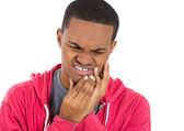 Young man in red hoodie with tooth ache crown problem — Foto de Stock