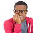 Stock Photo: Young nerdy unhappy guy