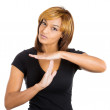 Young beautiful woman teenager making time-out sign with hands — Stock Photo #38004341