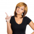 Funny young woman displaying holding up loser sign — Stock Photo