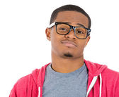 Handsome cocky guy with big black glasses looking at you camera gesture skeptically — Stock Photo