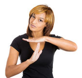 Young beautiful woman teenager making time-out sign with hands — Stock Photo