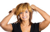 Young, attractive stressed woman — Stock Photo
