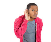 Man hand to ear trying to carefully intently secretly listen — Stock Photo