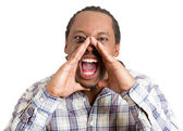 Yelling man with hands raised — Stock Photo