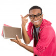 Young handsome man, wearing big glasses, holding books — Stock Photo #38170935