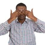 Man closing covering eyes — Stock Photo