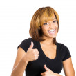 Woman giving two thumbs up — Stock Photo
