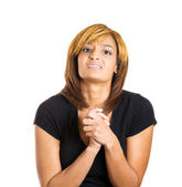 Woman hands fists up very anxious — Stockfoto