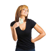 Woman counting money dollar bills in hand — Stock Photo