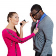 Woman checking cell phone of her man — Stock Photo