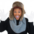 Woman wearing winter gear — Stockfoto