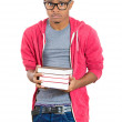 Man, wearing big glasses, holding books — Stock Photo #38582011