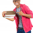 Man, wearing big glasses, holding books — Stock Photo #38582023