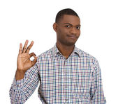 Smiling man giving OK sign — Stock Photo