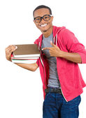 Man, wearing big glasses, holding books — Stok fotoğraf