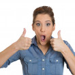 Woman giving thumbs up — Stock Photo #38670177