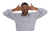 Man closing covering eyes with hands — Stock Photo