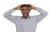 Man looking shocked — Stock Photo
