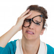 Woman with glasses messed up — Stock Photo #38818705