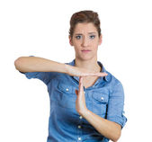 Woman making time-out gesture — Stock Photo