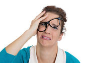 Woman with glasses messed up — Stockfoto