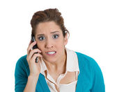Talking on a cell phone — Stock Photo