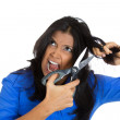 Woman about to chop off her hair — Stock Photo