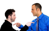 Two angry mad men yelling — Stock Photo