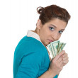 Miserly woman holding dollar — Stock Photo